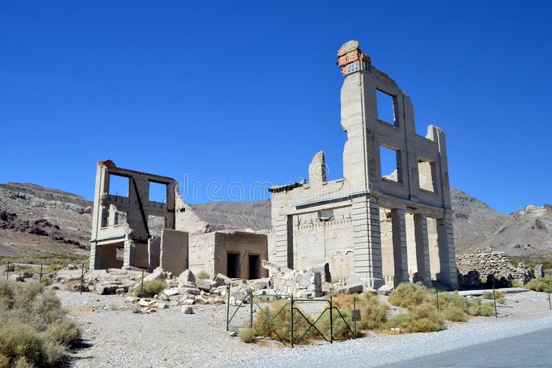 Rhyolite Nevada. Old building located in Rhyolite Ghost Town of Nye County Nevada royalty free stock photo