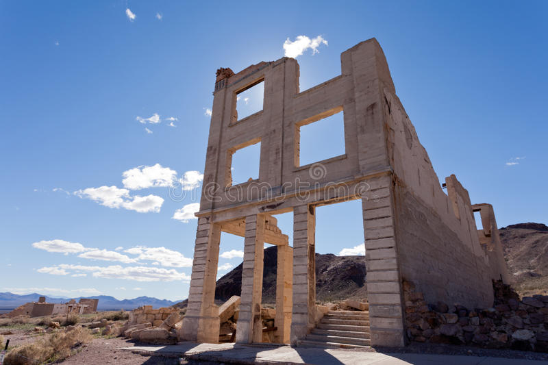 Rhyolite Nevada USA ghost town bank building ruins. Bank building ruins in Rhyolite, Nevada, USA, ghost town in Mojave Desert near Death Valley National Park stock photo