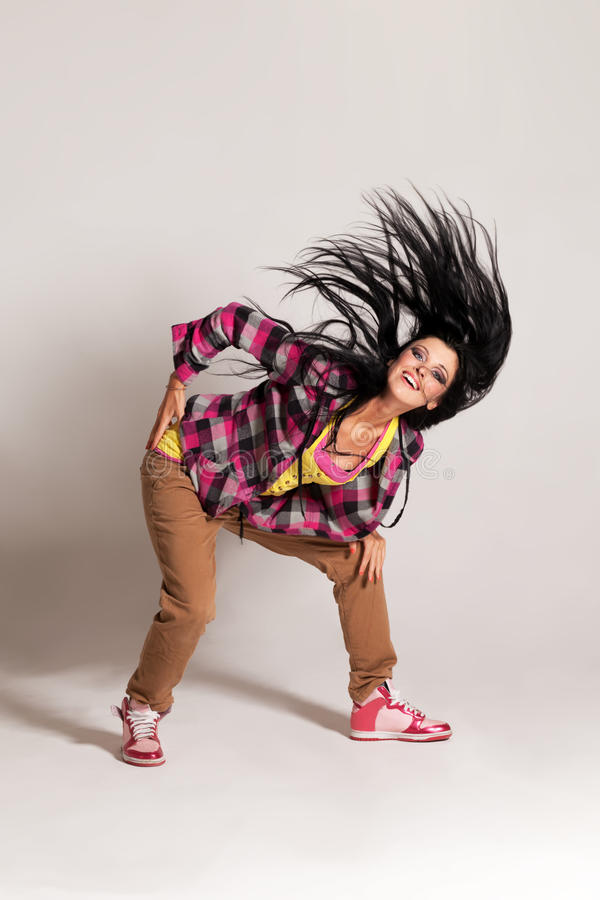 In the rhythm. Girl in the rhythm of hip-hop dance royalty free stock photography