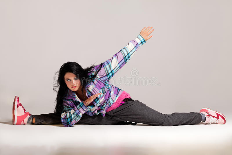 In the rhythm. Young girl moving in the rhythm of hip-hop stock photos
