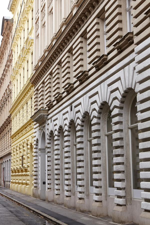 Rhythm in architecture of building.Abstract photography of facade building stock image