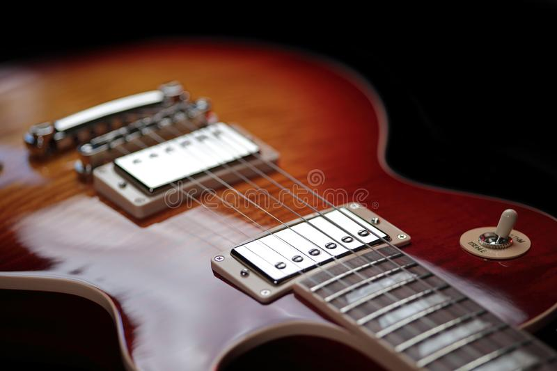 Rhythm Treble Switch and Neck Pickup on New Electric Guitar royalty free stock photos