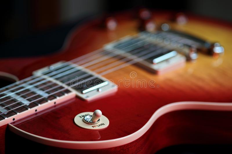 Rhythm Treble Switch on New Electric Guitar royalty free stock images