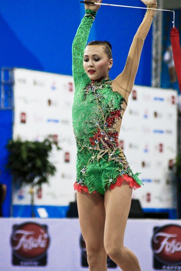 rhythmic gymnast Anna Alyabyeva Pesaro WC 2010 stock photo