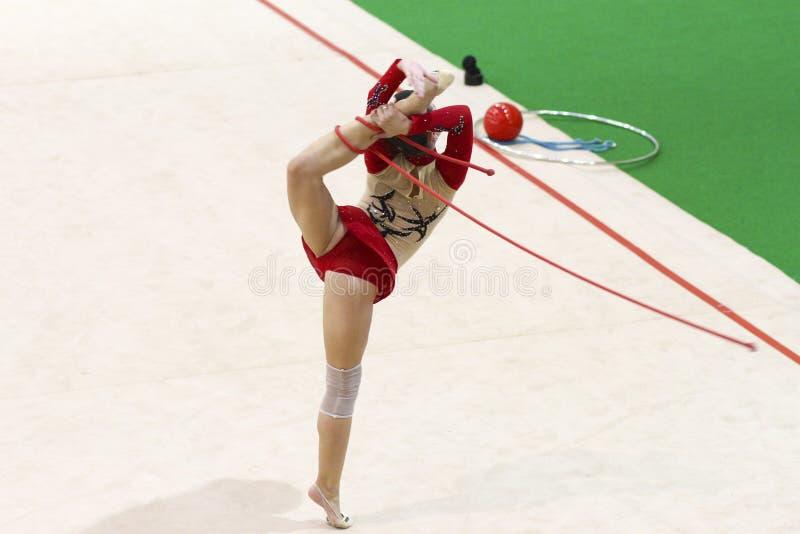 Download Rhythmic gymnastic editorial stock photo. Image of jump - 63932328