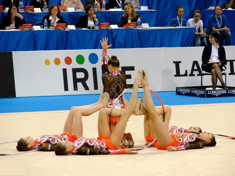Rhythmic Gymnastic: Belarus. Event: XXIV European Rhythmic Gymnastic Championship Date: 7th June Picture: the team of Belarus during the hoops and clubs final stock images