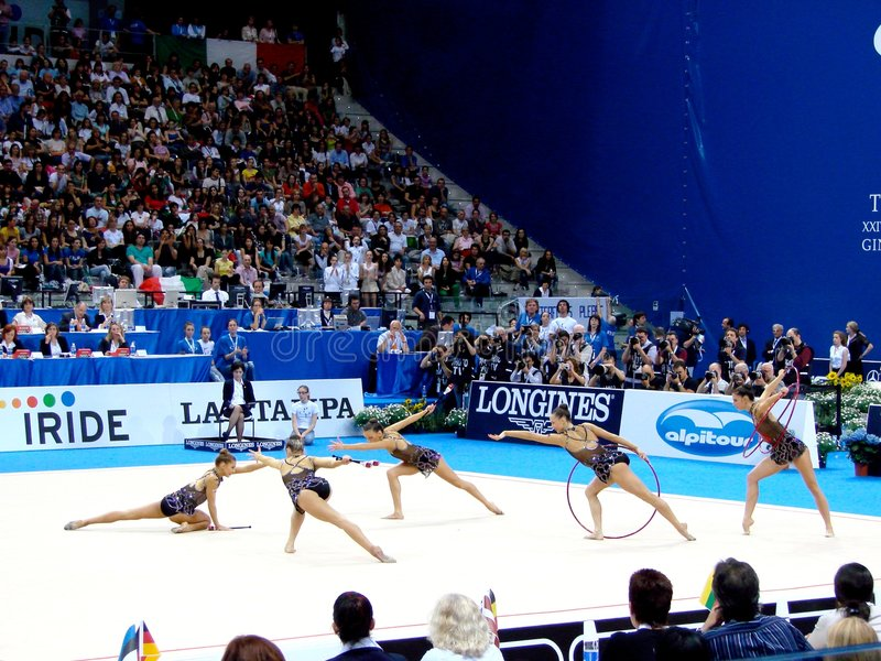 Rhythmic Gymnastic: Bulgaria. Event: XXIV European Rhythmic Gymnastic Championship Date: 7th June Picture: the team of Bulgaria during the hoops and clubs final royalty free stock photo