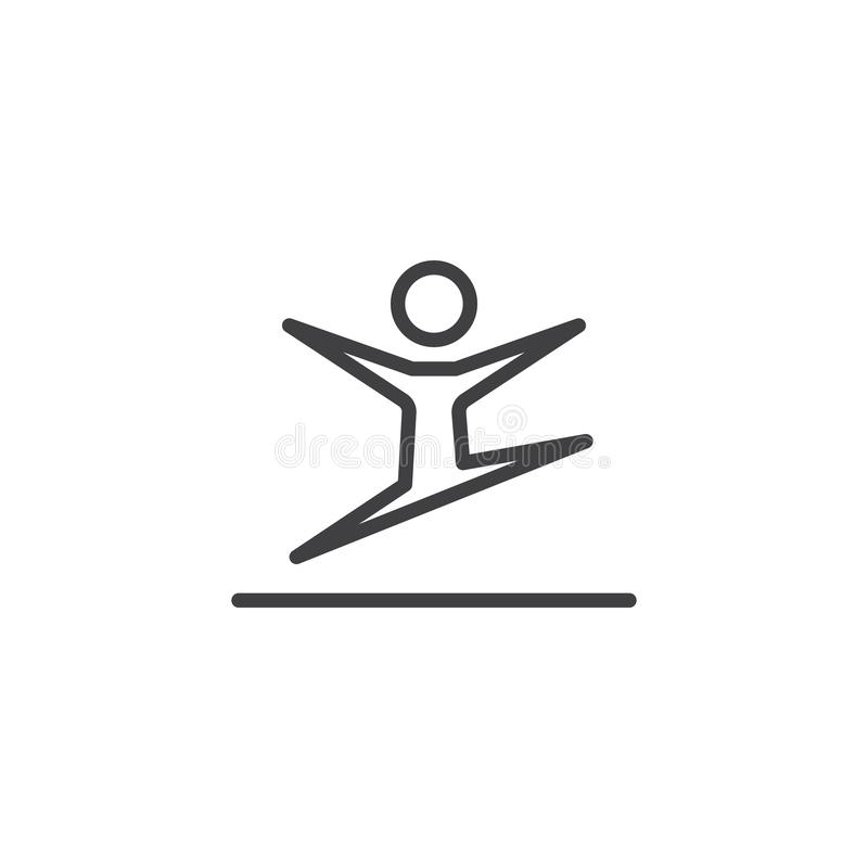 Rhythmic gymnastics athlete jump line icon vector illustration