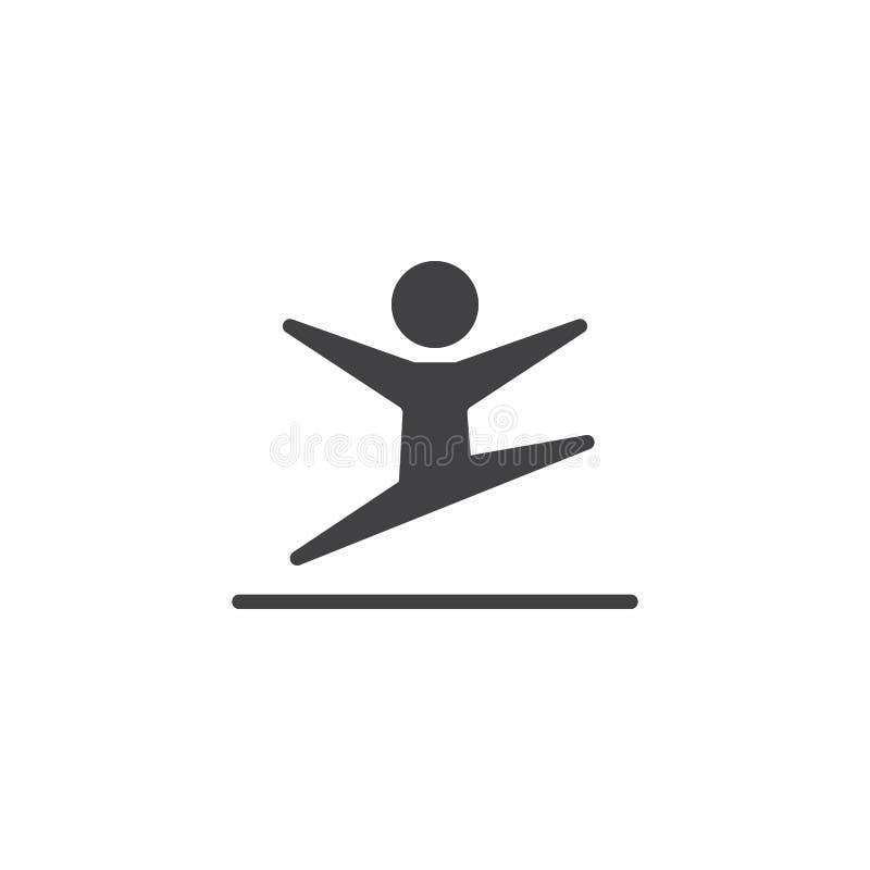 Rhythmic gymnastics athlete jump vector icon. Filled flat sign for mobile concept and web design. Gymnastic sport glyph icon. Symbol, logo illustration. Pixel stock illustration