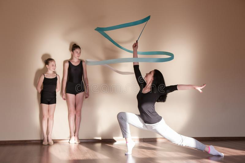 Rhythmic gymnastics. Ballet master class stock photo