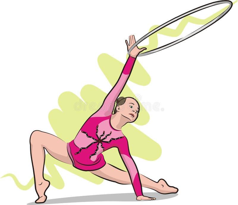 Rhythmic gymnastics - hoop royalty free illustration