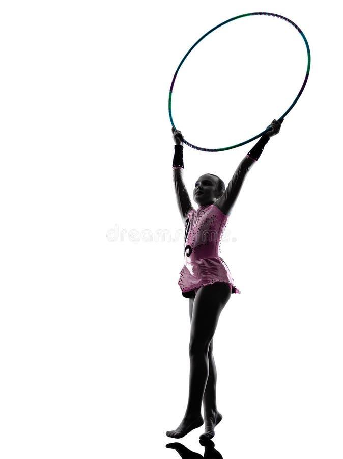 Rhythmic Gymnastics little girl child silhouette stock image