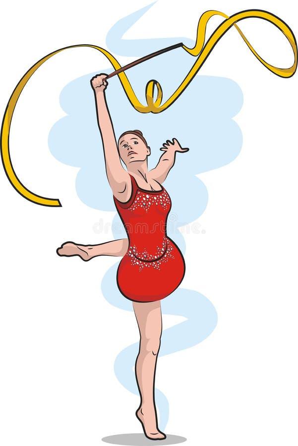 Rhythmic gymnastics - ribbon royalty free illustration