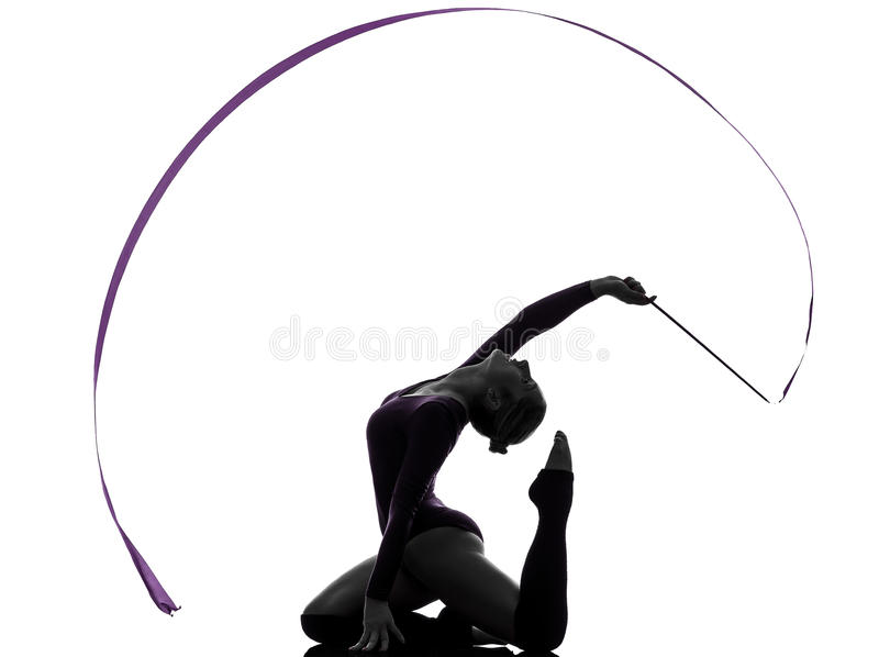Rhythmic Gymnastics with ribbon woman silhouette stock photos