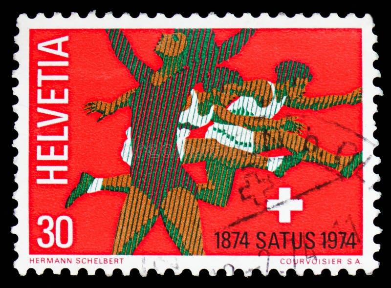 Rhythmics gymnast & hurdlers, schweizisk arbetar-, gymnastik- & sportanslutningserie, circa 1974 fotografering för bildbyråer