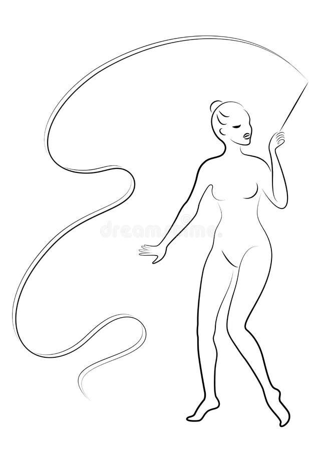 Rhythmische Gymnastik - farbige vectorial Ikone Schattenbild eines Mädchens mit einem Band Schöner Turner die Frau ist dünn und j lizenzfreie abbildung