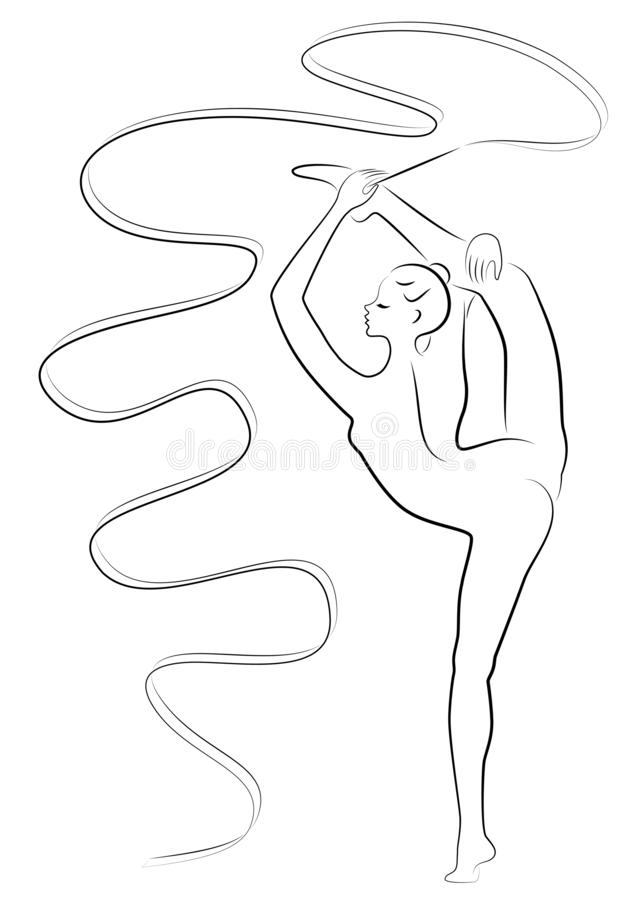 Rhythmische Gymnastik - farbige vectorial Ikone Schattenbild eines Mädchens mit einem Band Schöner Turner die Frau ist dünn und j stock abbildung