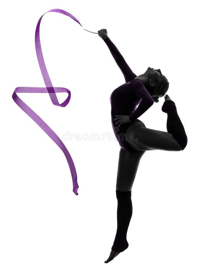 Rhythmische Gymnastik mit Farbbandfrauenschattenbild stockfoto
