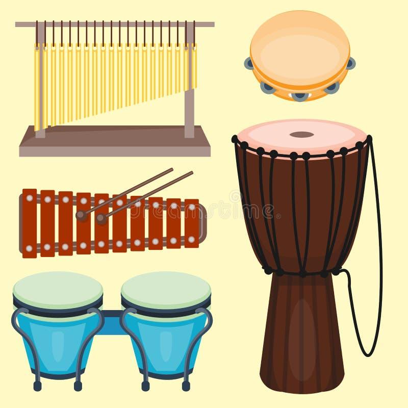 Rhythmus-Musikinstrument-Reihe der musikalischen Trommel hölzerne lizenzfreie abbildung