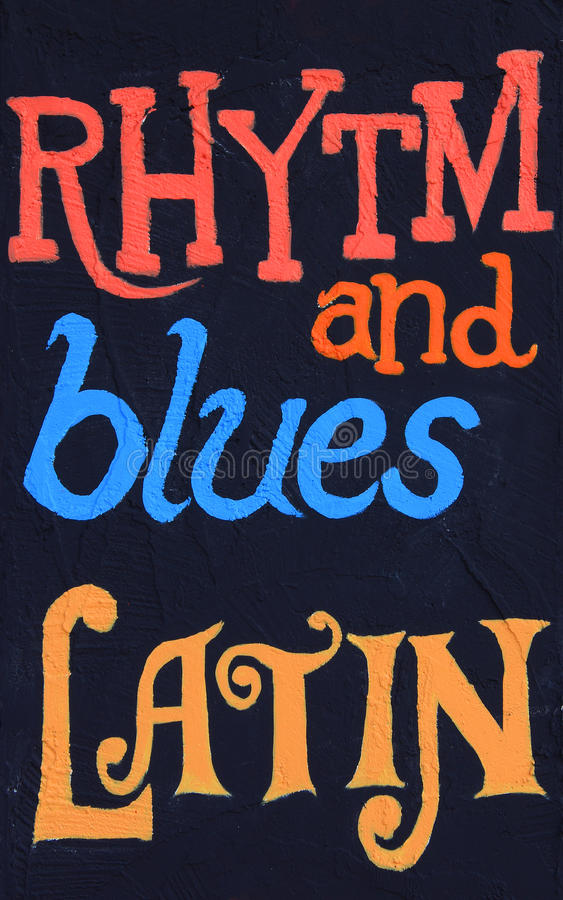 Rhytm and Blues, Latin. Rhythm and blues, latin, painted on a stucco wall. Part of a series stock photo