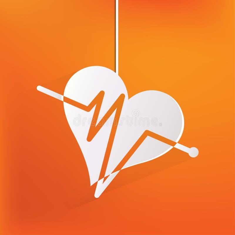 Rhytm del cuore, cardiogramm, icona medica illustrazione di stock