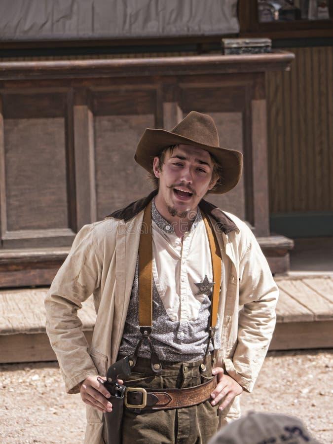 Ri--enactor dello scontro a fuoco al recinto per bestiame GIUSTO in pietra tombale Arizona fotografie stock libere da diritti
