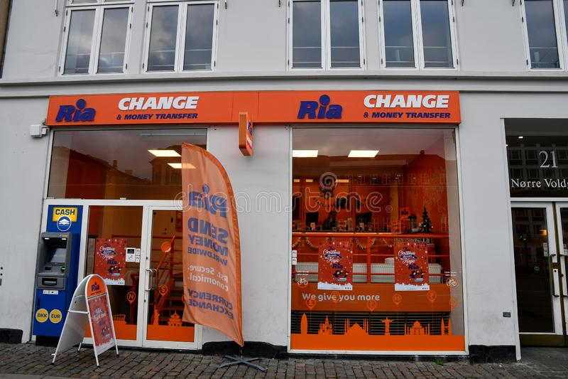 RIA CHANGE AND MONEY TRANSFER IN COPENHAGEN. Copenhagen/Denmark. 16.December 2018._Ria change and money transfer offce in Copenhagen Denmark. Photo. .Francis stock photo