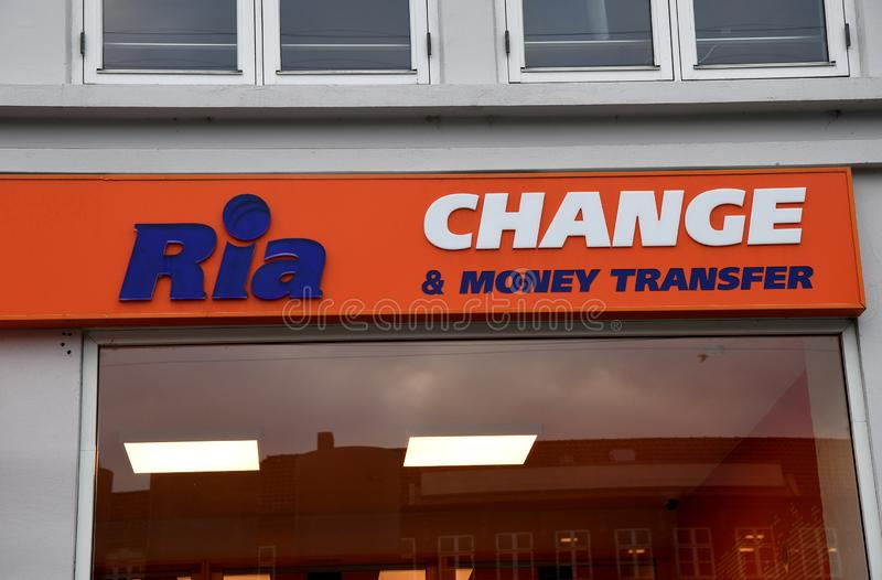 RIA CHANGE AND MONEY TRANSFER IN COPENHAGEN. Copenhagen/Denmark. 16.December 2018._Ria change and money transfer offce in Copenhagen Denmark. Photo. .Francis royalty free stock image