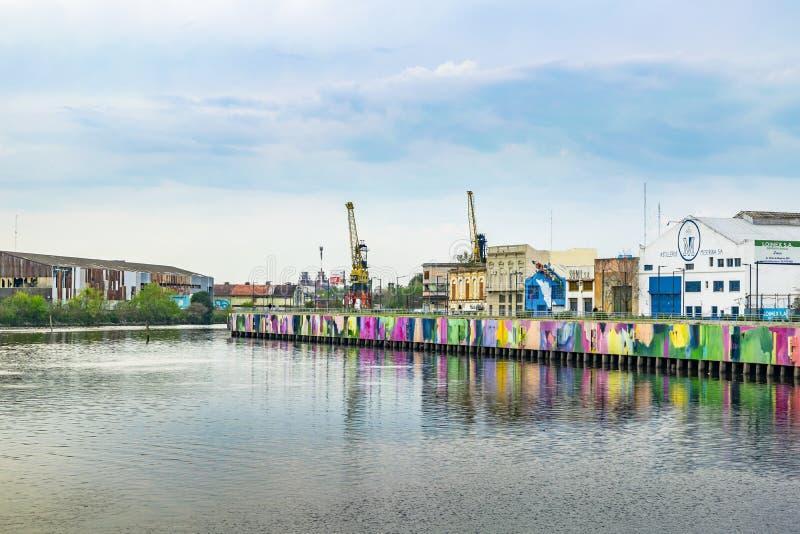 Riachuelo River, La Boca, Argentina. BUENOS AIRES, ARGENTINA, SEPTEMBER - 2018 - Riachuelo river and buildings surround at la boca district, Buenos Aires stock photography