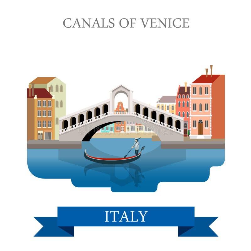 Rialto Bridge Canals Venice Italy flat vector sight landmark. Rialto Bridge Canals of Venice in Italy. Flat cartoon style gondola historic sight showplace stock illustration