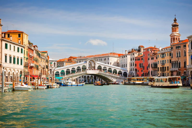 Rialto Bridge over Grand canal in Venice stock photos