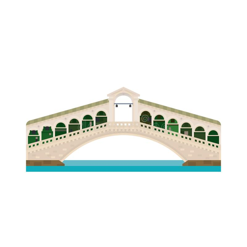 Rialto Bridge over Grand Canal at Venice, Italy isolated icon vector illustration