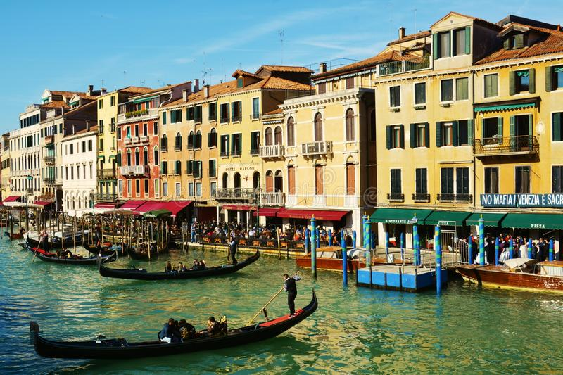 Rialto bridge surroundings, Venice, Italy, Europe stock photo