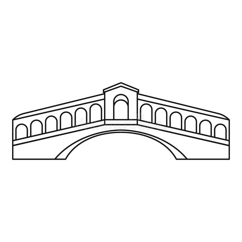 Line Drawing Venice : Rialto bridge in venice icon outline style stock vector