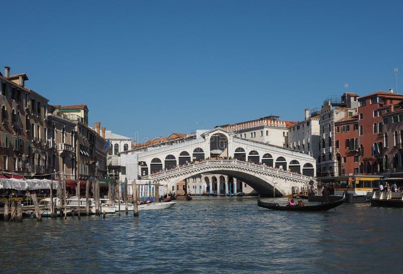 Rialto Bridge in Venice. VENICE, ITALY - CIRCA SEPTEMBER 2016: Ponte di Rialto meaning Rialto Bridge over the Grand Canal royalty free stock photos