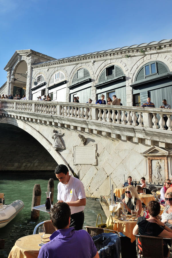 Rialto bridge in Venice stock photo