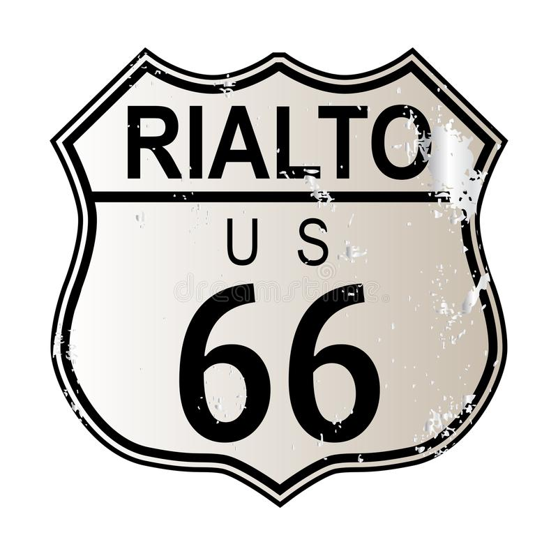 Rialto Route 66. Traffic sign over a white background and the legend ROUTE US 66 royalty free illustration