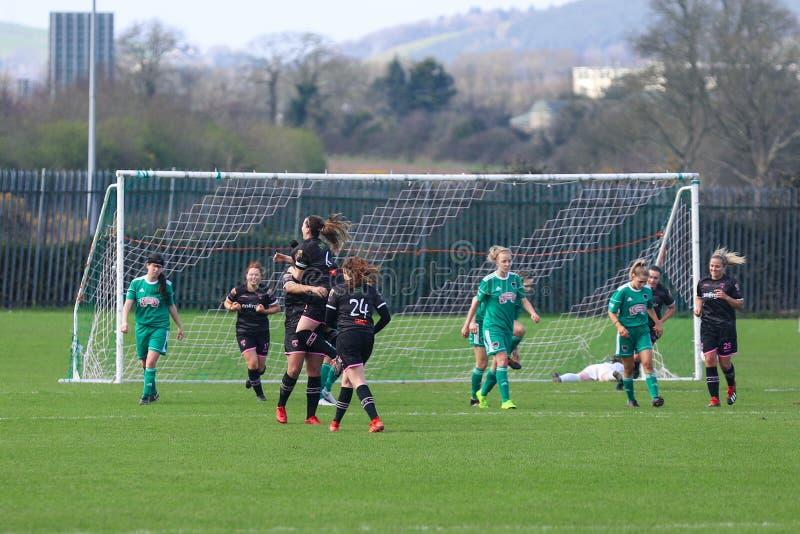 Rianna Jarrett pendant le match de ligue national des femmes entre les femmes de Cork City FC et le Wexford Youths image libre de droits