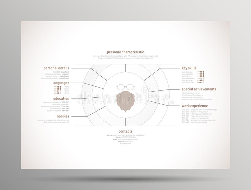 Download Riassunto - Curriculum Vitae Illustrazione Vettoriale - Illustrazione di riga, media: 55352534