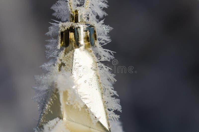 Riassunto della natura: Cristalli del gelo che aderiscono ad un ornamento all'aperto dorato di Natale fotografia stock