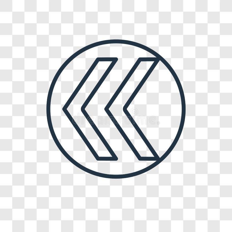 Riavvolga l'icona lineare di vettore di concetto isolata su backgr trasparente illustrazione vettoriale