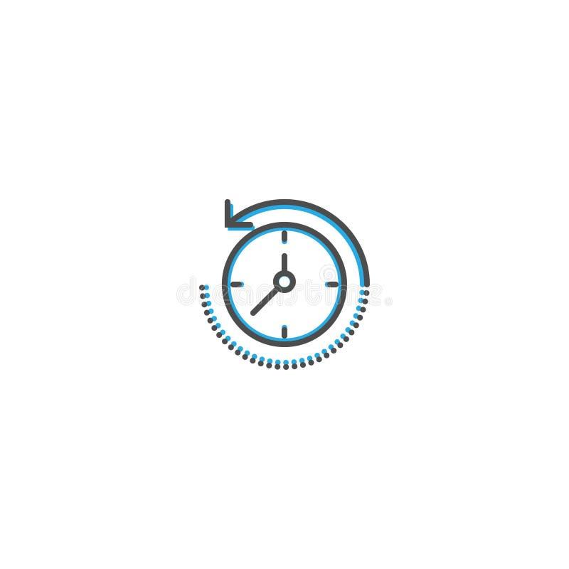 Riavvolga la linea progettazione dell'icona di tempo Illustrazione di vettore dell'icona di affari illustrazione vettoriale
