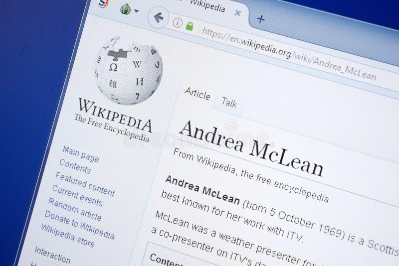 Riazan, Russie - 19 août 2018 : Page de Wikipedia au sujet d'Andrea McLean sur l'affichage du PC photo libre de droits