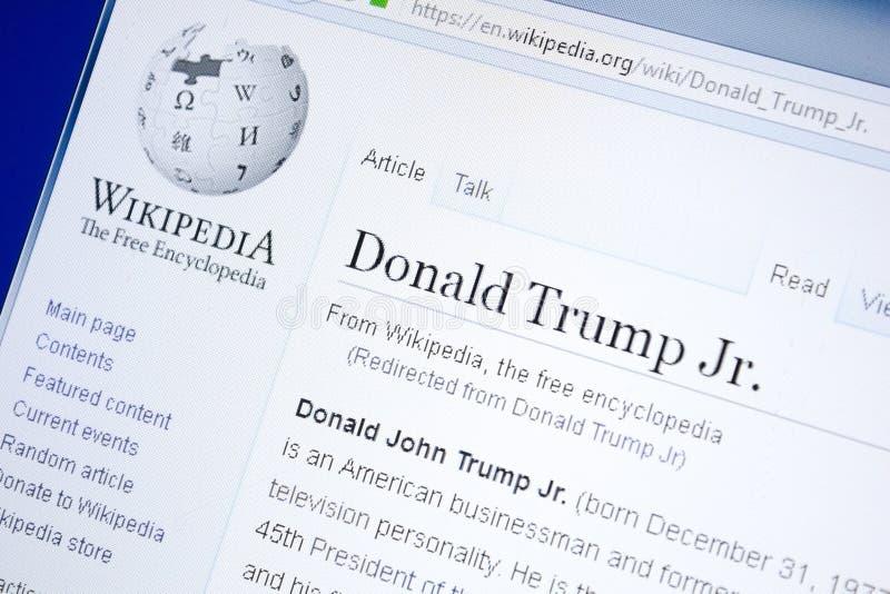 Riazan, Russie - 28 août 2018 : Page de Wikipedia au sujet de Donald Trump Jr sur l'affichage du PC image stock