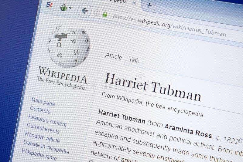Riazan, Russie - 19 août 2018 : Page de Wikipedia au sujet de Harriet Tubman sur l'affichage du PC image stock