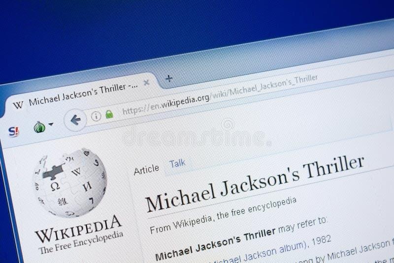 Riazan, Russie - 19 août 2018 : Page de Wikipedia au sujet de Michael Jakson \ de 'thriller de s sur l'affichage du PC photos stock