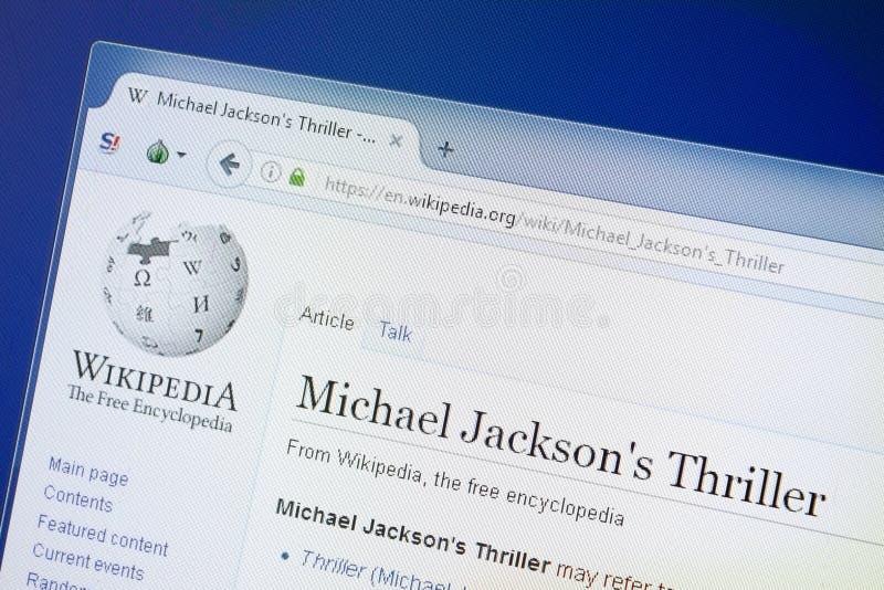 Riazan, Russie - 19 août 2018 : Page de Wikipedia au sujet de Michael Jakson \ de 'thriller de s sur l'affichage du PC photos libres de droits