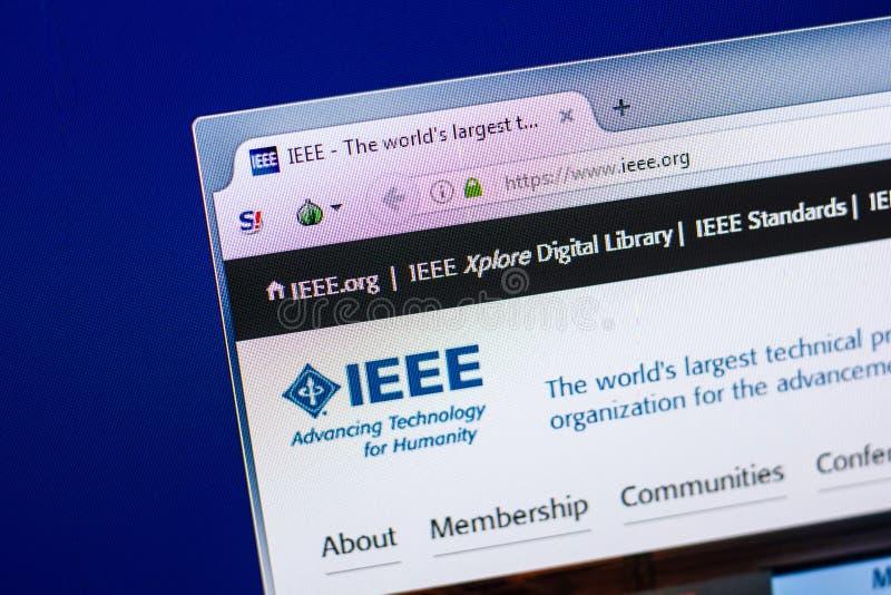 Riazan, Russie - 29 avril 2018 : Page d'accueil de site Web d'IEEE sur l'affichage du PC, URL - IEEE org image libre de droits