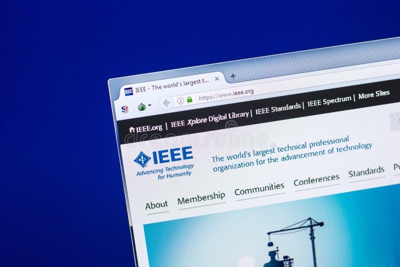 Riazan, Russie - 29 avril 2018 : Page d'accueil de site Web d'IEEE sur l'affichage du PC, URL - IEEE org photo stock
