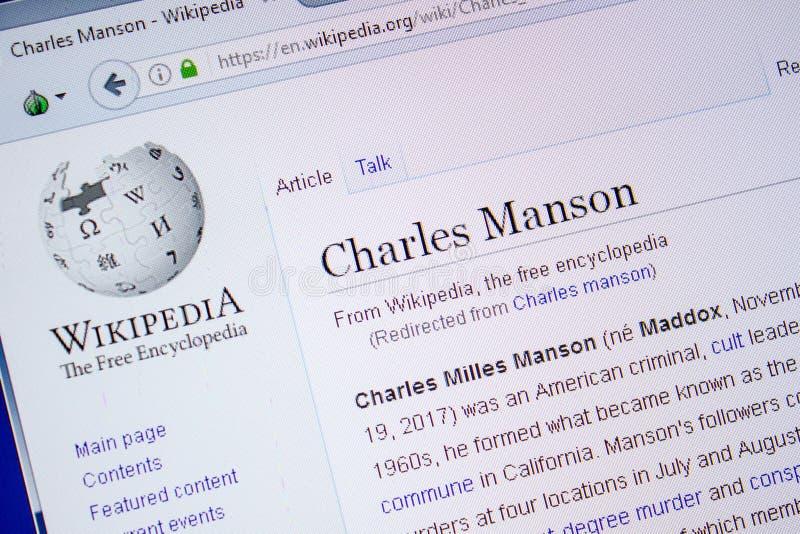 Riazan, Russie - 9 juillet 2018 : Page sur Wikipedia au sujet de Charles Manson sur l'affichage du PC image stock